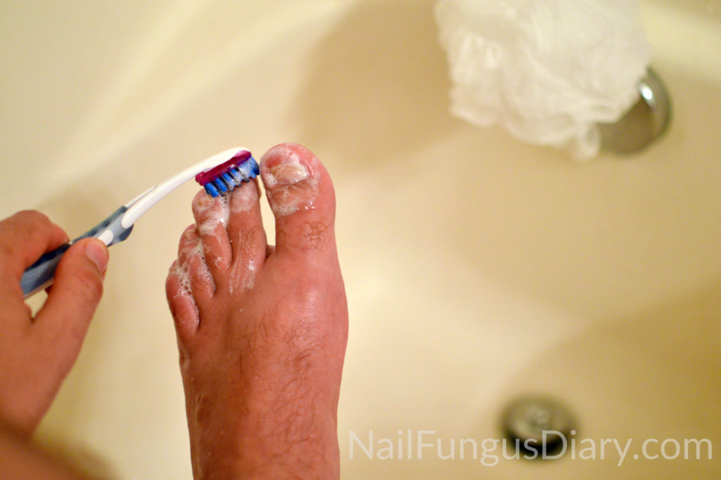 I scrub my nails in the shower every day to fight nail fungus.